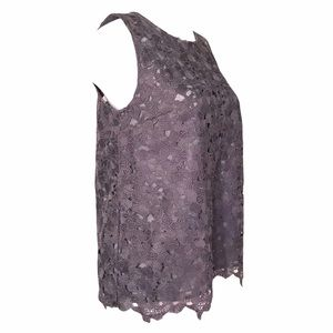 Slate Grey Silver Sleeveless Lace Cut Out Top